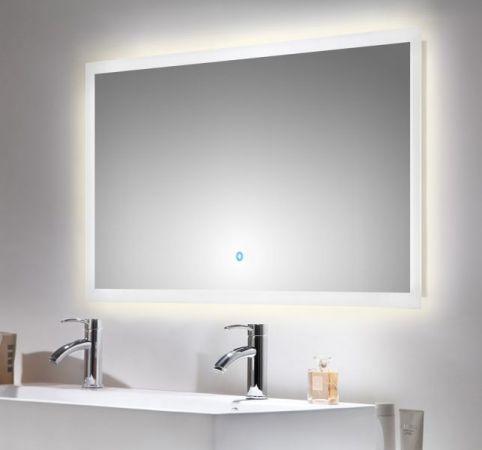 Badspiegel Homeline inkl. LED Beleuchtung mit Touch Bedienung Badezimmer Spiegel weiß 120 x 65 cm