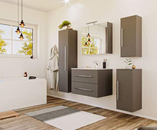 Badezimmer Hängeschrank Homeline in anthrazit Seidenglanz Badschrank 30 x 70 cm Badmöbel Kommode