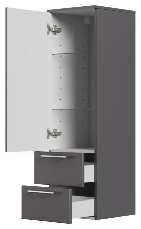Badezimmer Hochschrank hängend Homeline in anthrazit Seidenglanz Badschrank 35 x 120 cm Badmöbel