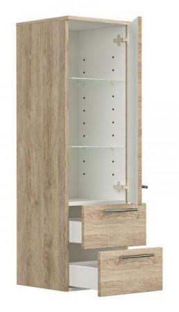 Badezimmer Hochschrank hängend Homeline in Sonoma Eiche hell Badschrank 35 x 120 cm Badmöbel