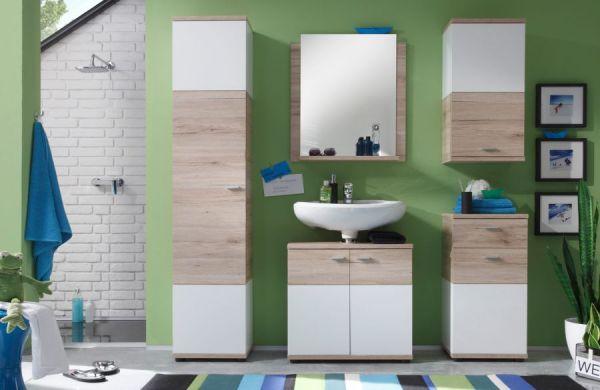 Badkombination Badezimmer Set Campus San Remo-Eiche hell mit weiß 5-teilig