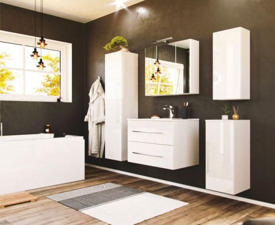 Waschbeckenunterschrank Homeline in Hochglanz weiß Waschtisch hängend inkl. Waschbecken 2-teilig 75 x 54 cm