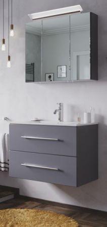 Waschbeckenunterschrank Homeline in anthrazit Seidenglanz Waschtisch hängend inkl. Waschbecken 2-teilig 75 x 54 cm