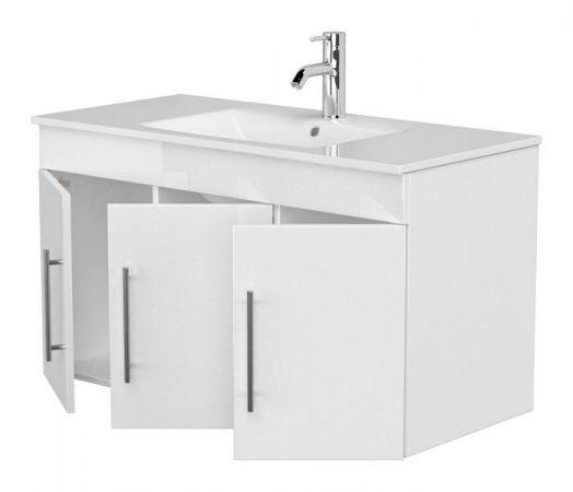Waschbeckenunterschrank Teramo in Hochglanz weiß Waschtisch hängend inkl. Waschbecken 2-teilig 100 x 56 cm