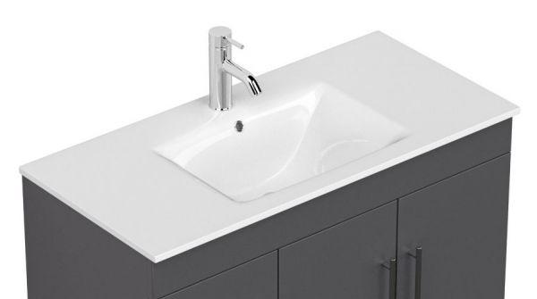 Waschbeckenunterschrank Teramo in anthrazit Seidenglanz Waschtisch hängend inkl. Waschbecken 2-teilig 100 x 56 cm