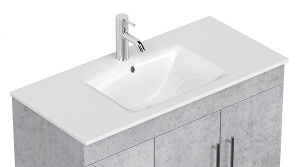 Waschbeckenunterschrank Teramo in Stone Design grau Waschtisch hängend inkl. Waschbecken 2-teilig 100 x 56 cm