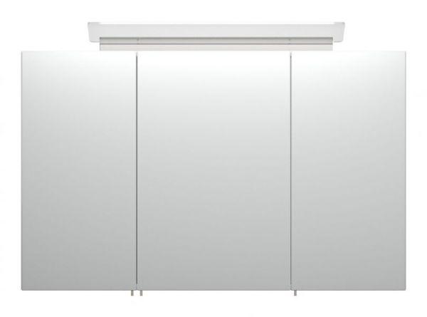Badezimmer Spiegelschrank Teramo in Hochglanz weiß inklusive Design LED Spiegellampe 3-türig 100 x 62 cm