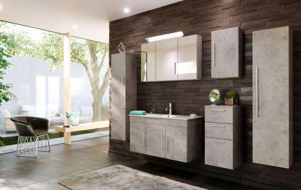 Badezimmer Spiegelschrank Teramo in Stone Design grau inklusive Design LED Spiegellampe 3-türig 100 x 62 cm