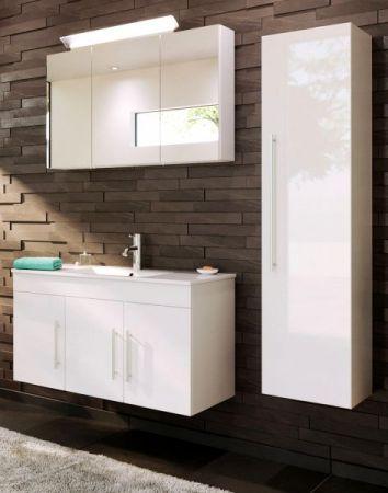 Badezimmer Hochschrank hängend Teramo in Hochglanz weiß Badschrank 35 x 150 cm Badmöbel