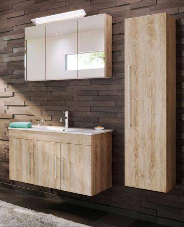 Badezimmer Hochschrank hängend Teramo in Sonoma Eiche hell Badschrank 35 x 150 cm Badmöbel