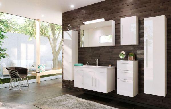Badezimmer Hängeschrank Teramo in Hochglanz weiß Badschrank 37 x 75 cm Badmöbel Kommode