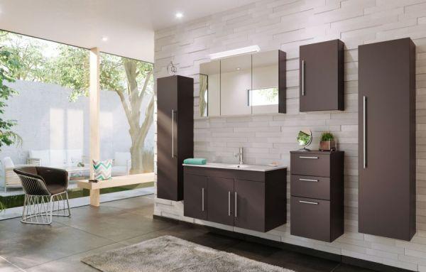 Badezimmer Hängeschrank Teramo in anthrazit Seidenglanz Badschrank 35 x 62 cm Badmöbel