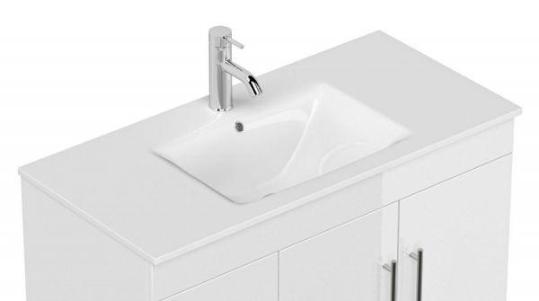 Badkombination Teramo in Hochglanz weiß Badmöbel Set 6-teilig inkl. Waschbecken und LED Beleuchtung 200 x 190 cm