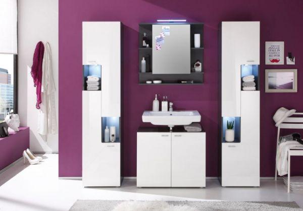 """Badezimmer: Hochschrank """"Tetis"""" Hochglanz weiß (40 x 180 cm)"""