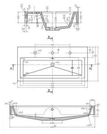 Doppelwaschtisch Livono in Hochglanz weiß Waschtisch hängend inkl. Waschbecken 100 x 60 cm Waschplatz Set
