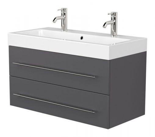 Doppelwaschtisch Livono in anthrazit Seidenglanz Waschtisch hängend inkl. Waschbecken 100 x 60 cm Waschplatz Set