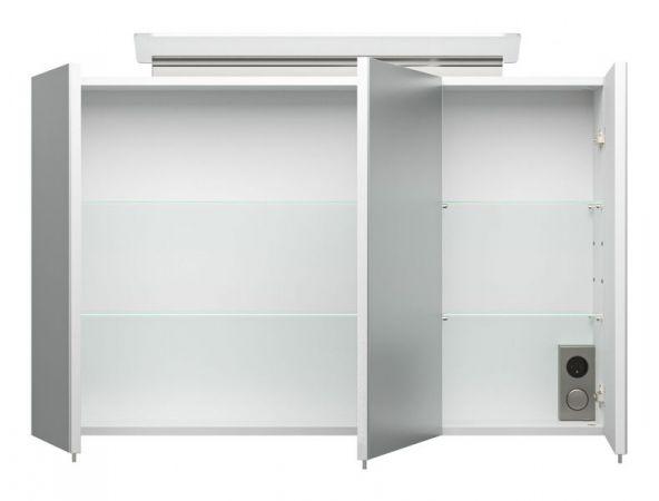 Bad Spiegelschrank Livono in Hochglanz weiß inklusive Design LED Spiegellampe Badschrank 3-türig 100 x 62 cm