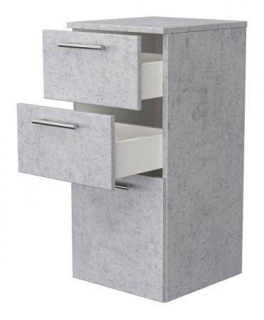 Badezimmer Hängeschrank / Kommode Livono in Stone Design grau Badschrank 37 x 75 cm Badmöbel