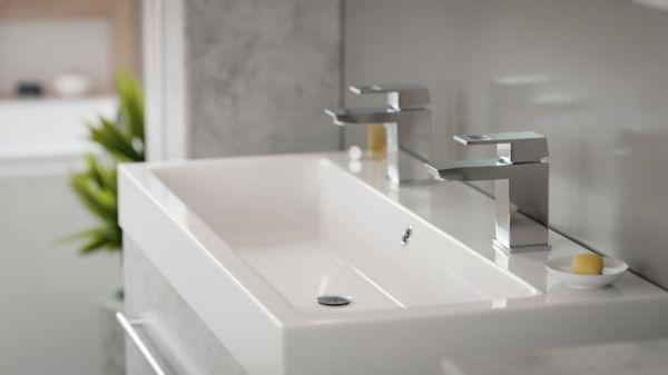 Badkombination Livono in Stone Design grau Badmöbel Set 5-tlg. inkl. Doppelwaschtisch und LED Spiegellampe 150 x 190 cm