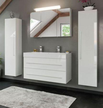 Badkombination Livono in Hochglanz weiß Badmöbel Set 6-tlg. inkl. Doppelwaschtisch und LED Spiegellampe 200 x 190 cm