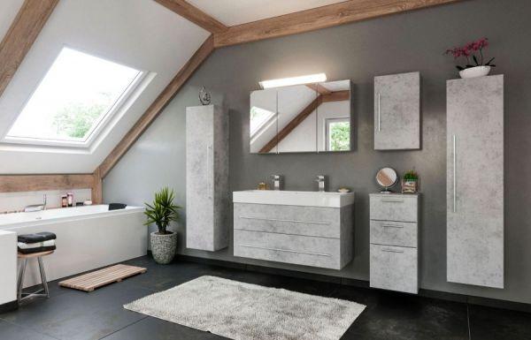 Badkombination Livono in Stone Design grau Badmöbel Set 6-tlg. inkl. Doppelwaschtisch und LED Spiegellampe 200 x 190 cm