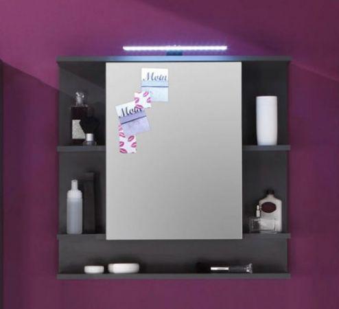 """Badezimmer: Spiegelschrank """"Tetis"""" Grafit, grau (72x70 cm) mit Regalfächern"""