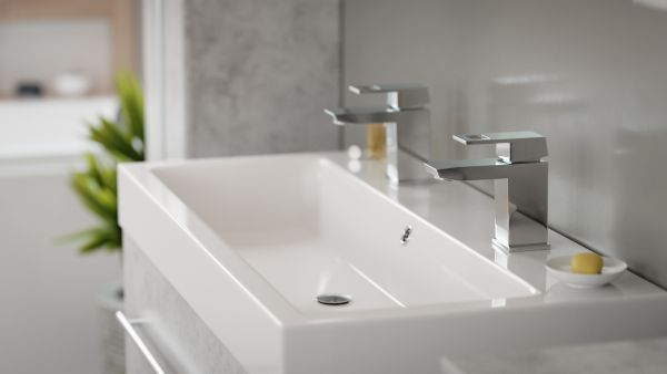 Badkombination Livono in Stone Design grau Badmöbel Set 7-tlg. inkl. Doppelwaschtisch und LED Spiegellampe 200 x 190 cm