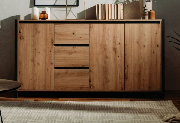 Sideboard Denver in Artisan Eiche und Anthrazit 160 x 88 cm