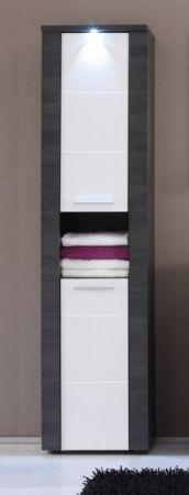 """Badezimmer: Hochschrank """"Xpress"""" Esche grau, weiß (40x184 cm) inkl. LED-Beleuchtung"""