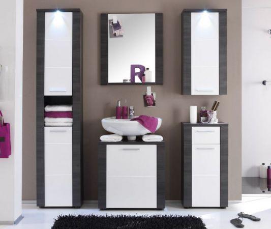 """Badezimmer: Hochschrank """"Xpress"""" Esche, grau, weiß (40x184 cm) inkl. LED-Beleuchtung"""