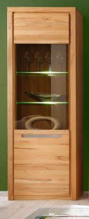 Vitrine Zino in Kernbuche teil massiv geölt Vitrinenschrank inkl. LED Beleuchtung 68 x 203 cm