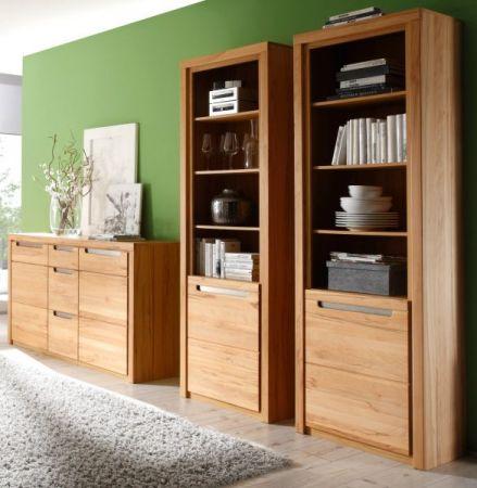 Wohnzimmer Set Wohnwand Zino Kernbuche massiv mit Sideboard und 2x Stauraumvitrine
