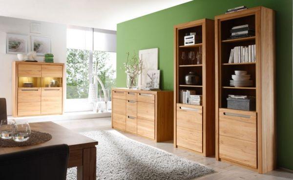 Wohnwand Zino in Kernbuche teil massiv geölt Schrankwand 3-teilig mit Sideboard und 2x Stauraumvitrine 329 x 203 cm