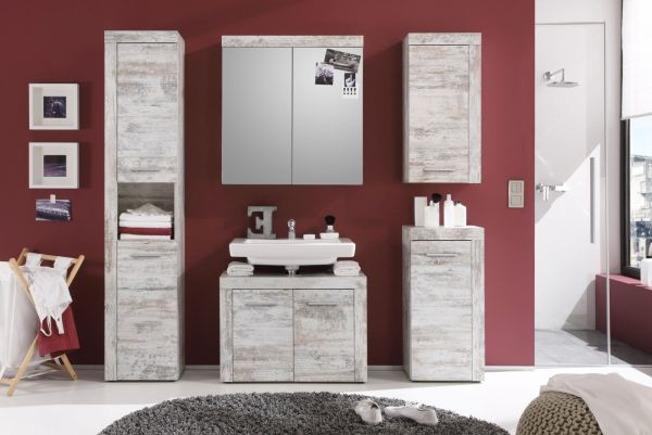 Badmöbel Spiegelschrank Cancun in Canyon Pinie weiß Shabby chic 2-türig Badezimmer Vintage 72 x 79 cm