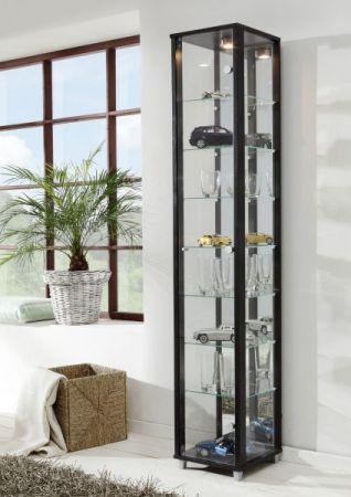 Vitrine Glasvitrine Buche mit Spiegelrückwand und Beleuchtung