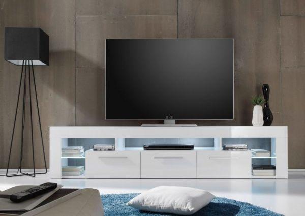 """Wohnzimmer: TV-Lowboard """"Score"""" Hochglanz weiß (200 x 44 cm) wahlweise mit LED-Beleuchtung"""