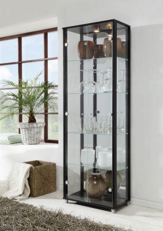 Vitrine Glasvitrine 2-türig schwarz mit Spiegelrückwand und Beleuchtung