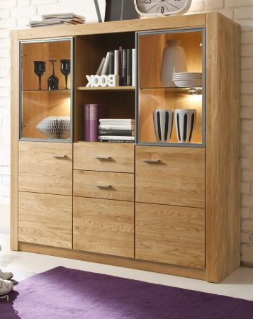 Highboard Hartford in Asteiche massiv geölt 138 x 141 cm