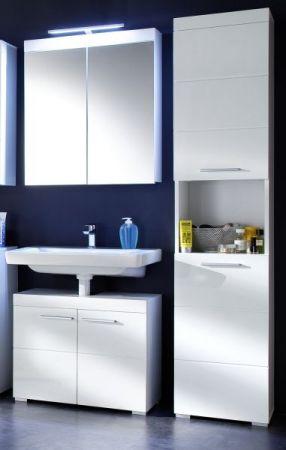 Badezimmer Spiegelschrank Amanda in Hochglanz weiß 2-türig 60 x 77 cm optional mit LED Spiegellampe