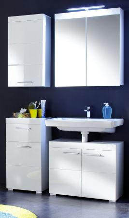 Badezimmer Unterschrank Amanda in Hochglanz weiß Badschrank 37 x 79 cm Kommode Badmöbel