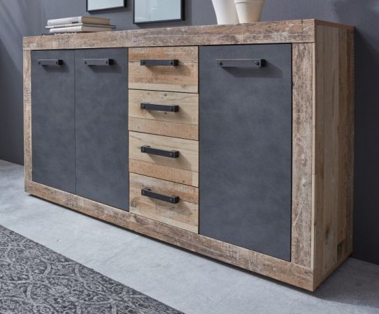 Kommode Tailor grau - Used Wood Shabby hell 151 x 86 cm