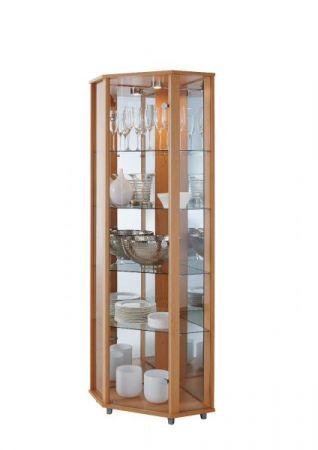 Eckvitrine Glasvitrine schwarz mit Spiegelrückwand und LED Beleuchtung
