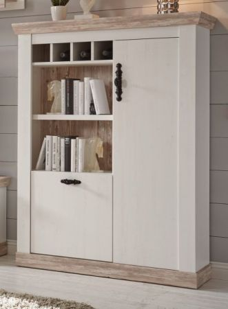 Highboard Rovola in Pinie weiss Landhaus 105 x 146 cm