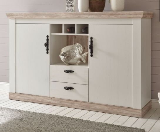 Sideboard Rovola in Pinie weiss Landhaus 168 x 104 cm