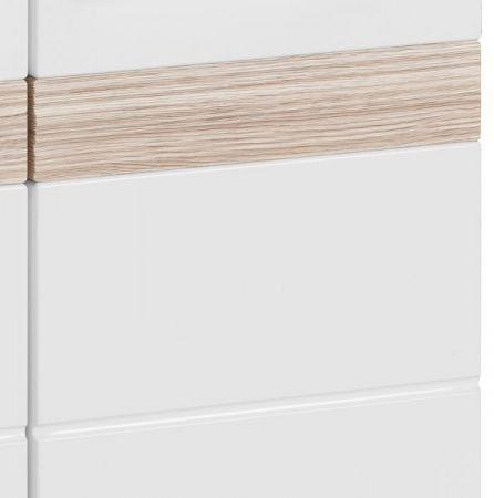 Badezimmer Hochschrank SetOne in Hochglanz weiß und Eiche San Remo Badschrank 37 x 182 cm Badmöbel