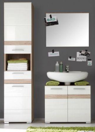 Badezimmer Hochschrank SetOne in Hochglanz weiß und Eiche San Remo in Badschrank 37 x 182 cm Badmöbel