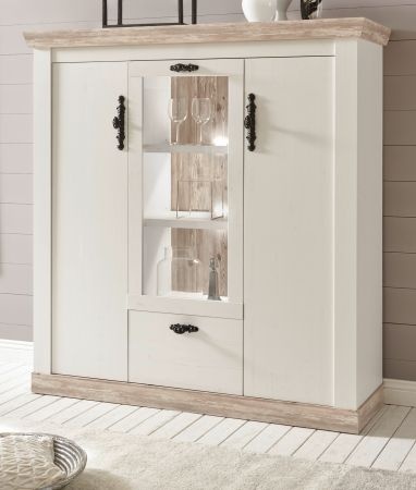 Highboard Rovola in Pinie weiss Landhaus 140 x 146 cm