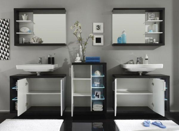 Badspiegel Wandspiegel Sunrise weiß Sardegna grau Rauchsilber 90 cm mit Regal