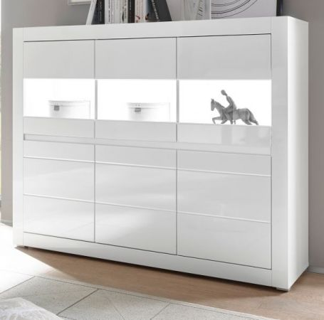 Highboard Nobile in Hochglanz weiss - Stone Design grau 164 x 131 cm
