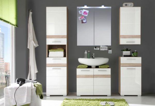 Badezimmer Unterschrank SetOne in Hochglanz weiß und Eiche San Remo Badschrank 37 x 80 cm Kommode Badmöbel